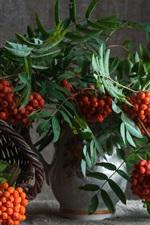 Preview iPhone wallpaper Berries, vase, basket