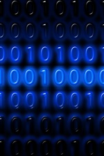 Preview iPhone wallpaper Binary code numbers, one or zero, blue, digital