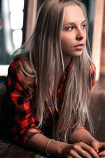 Preview iPhone wallpaper Blonde girl, skirt, relax