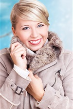 Preview iPhone wallpaper Blonde girl, smile, winter, coat