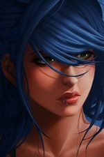 Preview iPhone wallpaper Blue hair fantasy girl, green eyes
