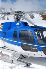 Preview iPhone wallpaper Blue helicopter, snow, winter