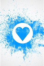 Preview iPhone wallpaper Blue love heart, watercolor, wall