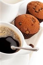 Pão, cupcakes, café