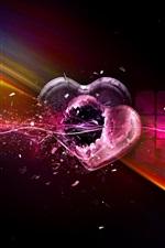 Preview iPhone wallpaper Broken hearts, creative design