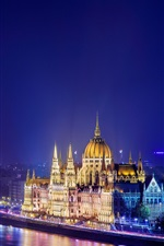 Preview iPhone wallpaper Budapest, Hungary, night city, river, bridge, buildings, lights