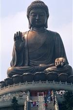 Preview iPhone wallpaper Buddha statue, Hong Kong