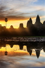 Preview iPhone wallpaper Cambodia, temple, sunset