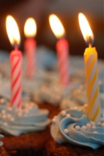 Preview iPhone wallpaper Candles, flame, cupcakes, cream
