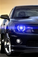 Preview iPhone wallpaper Chevrolet Camaro black car front view, angel eyes