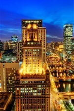 Chicago city night view, skyscrapers, lights, USA