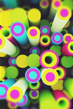 Preview iPhone wallpaper Circles rendering, colorful, 3D design