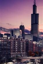 미리보기 iPhone 배경 화면 도시 건물, 고층 빌딩, 황혼