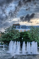 Preview iPhone wallpaper City fountain, water, trees, dusk, clouds