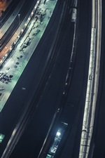 Preview iPhone wallpaper City night, top view, railroads
