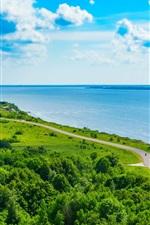 Preview iPhone wallpaper Coast, sea, road, greens, clouds