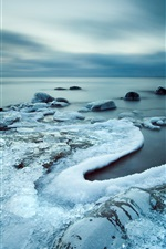 Preview iPhone wallpaper Cold coast, sea, ice, gloomy sky