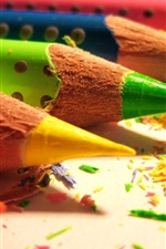 Colored pencils and colorful debris