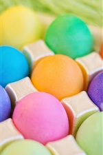 Preview iPhone wallpaper Colorful eggs, Easter, grass