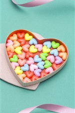 Preview iPhone wallpaper Colorful hearts candy, ribbon, gift