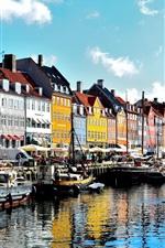 Preview iPhone wallpaper Copenhagen, Denmark, river, boats, houses