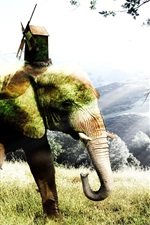 Creative picture, elephant, grass, trees, hut, windmill