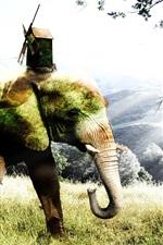 미리보기 iPhone 배경 화면 크리 에이 티브 그림, 코끼리, 잔디, 나무, 오두막, 풍차