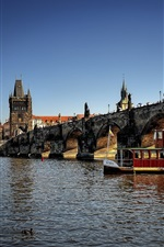 Preview iPhone wallpaper Czech Republic, city, river, bridge, boats, houses, Prague