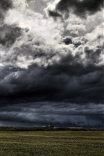 Preview iPhone wallpaper Dark clouds, storm will coming, fields