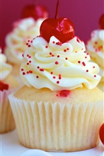 Preview iPhone wallpaper Delicious cupcakes, cream, dessert, red cherries