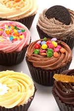 Preview iPhone wallpaper Delicious cupcakes, cream, dessert