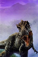Preview iPhone wallpaper Dinosaur art picture, fangs, fog