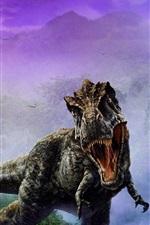 iPhone fondos de pantalla Imagen de arte de dinosaurio, colmillos, niebla
