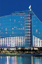 Preview iPhone wallpaper Dubai, UAE, Jumeirah Beach Hotel, water, palm trees, buildings