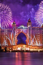 Preview iPhone wallpaper Dubai, city night, fireworks, water