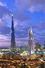 미리보기 iPhone 배경 화면 두바이, 고층 빌딩, 건물, 밤, 조명, 구름