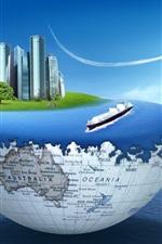Preview iPhone wallpaper Earth, sea, skyscrapers, plane, creative design
