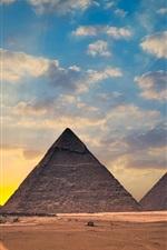 Preview iPhone wallpaper Egypt, pyramids, sunset, clouds, desert