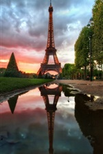 Preview iPhone wallpaper Eiffel Tower, Paris, France, water, trees, clouds, dusk