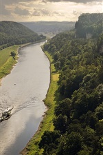 Preview iPhone wallpaper Elbe Valley, Germany, Saxony, river, trees, boat