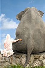 Preview iPhone wallpaper Elephant and girl, friends, back view