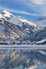 Preview iPhone wallpaper Engelberg, Switzerland, mountains, snow, winter, lake, houses