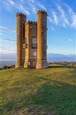 Preview iPhone wallpaper England, Broadway Tower, hill, blue sky