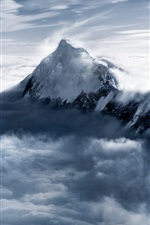 Preview iPhone wallpaper Everest Mountain at dusk, snow, clouds