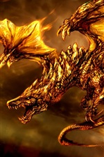 Preview iPhone wallpaper Fantasy 3D dragon, fire, wings