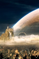 Preview iPhone wallpaper Fantasy world, mountains, castle, houses, planets, clouds