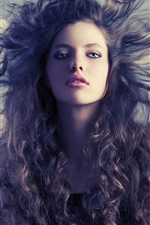 Preview iPhone wallpaper Fashion girl, hair flying, wind