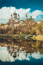 Preview iPhone wallpaper Feofania Park, Kiev, Ukraine, cathedral, lake, water reflection