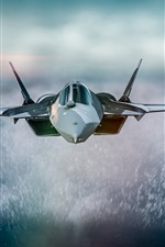 Preview iPhone wallpaper Fighter front view, flight, sea, water splash