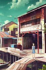 Preview iPhone wallpaper Fishing port, boats, shop, anime girl
